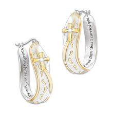 Earrings Footprints Round Frosted Cross Alloy Jewelry for Ceremony
