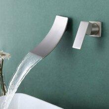 Modern UK Wall-Mounted Waterfall Bathroom Sink Mixer Tap Bath Chr