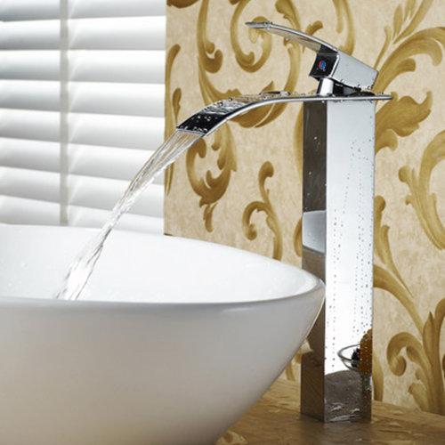 Tall Waterfall Bathroom Taps Basin Mixer Tap Counter Top Brass