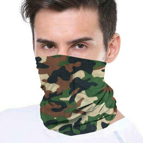 (Camo Brown) Bandana Face Covering Mask Biker Tube Snood Scarf Neck Cover