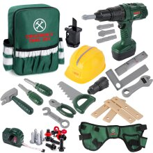 deAO Construction Play Tool Set with Electric Drill, Backpack, Helmet and Many Tool accessories Included- Great Gift for Kids