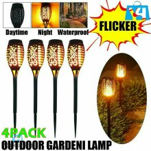 4 X PC Waterproof Solar Garden Flame Light Flickering LED Torch Lamp