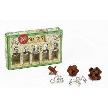 Professor Puzzles Great Minds Brain Teaser Puzzle Set - 5 Piece - 3 X Wooden Brain Teaser Puzzle & 2 X Metal Entanglement Puzzles - Male