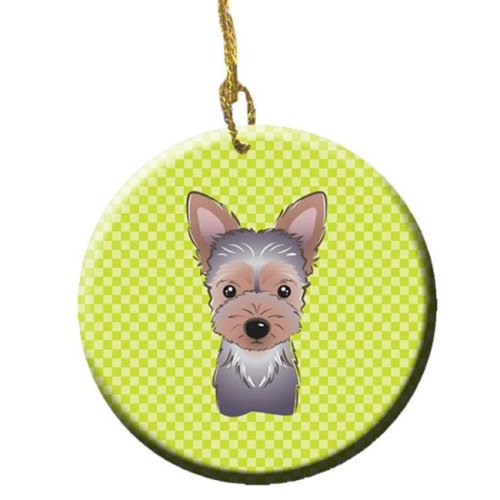 Checkerboard Lime Green Yorkie Puppy Ceramic Ornament, 2.81 In.