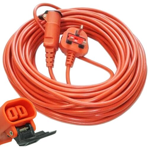 20 Metre Mains Cable & Lead Plug for Bosch Rotak Lawnmowers (20m)