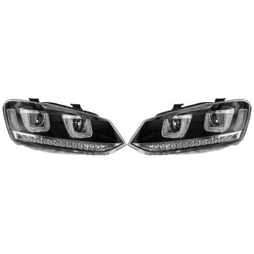 Rhd For VW Polo 6R 6C 2009- Black DRL LED Projector Headlights With LED Indicato