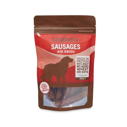 Langham's Sausages Natural Dog Treats Air Dried High in Protein 160g