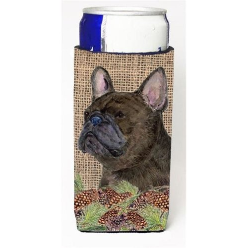French Bulldog On Faux Burlap With Pine Cones Michelob Ultra bottle sleeve for Slim Can
