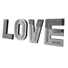Mirrored Diamond Crushed Crystal Mirror Diamond LOVE Letters Wall Art
