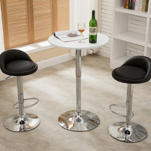 2* Bar Stool Leather Swivel Gas Lift Foot Rest Chair Kitchen Seat