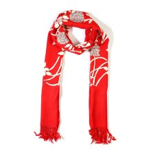 TJC Scarf 100% Merino Wool Scarf Lightweight Breathable Scarf Flower and Leaves Embroidered Scarf (Size 195x70 cm) - Red