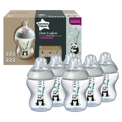 6pc Tommee Tippee Closer to Nature Decorated 260ml Bottle Set