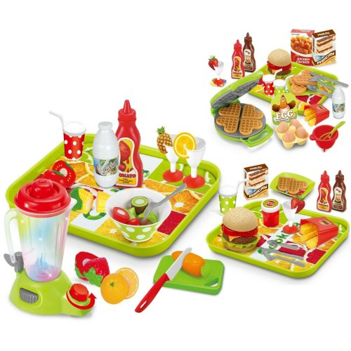 Kids Play Food Kitchen Pretend Play Waffle / Smoothie / Burger & Fries Maker