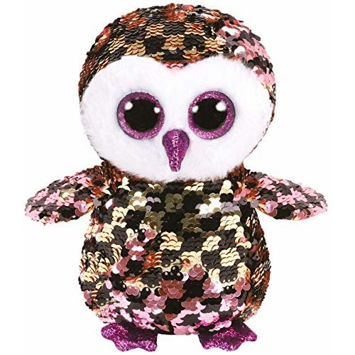 TY Flippable Sequins Checks Pink/Black Owl Beanie
