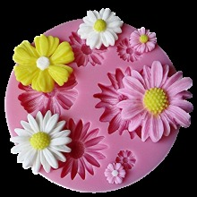 3D Silicone Sunflower, Rose Flowers Cake Border Decoration Mold