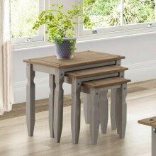 Corona Grey Wax Piccolo Nest of Tables