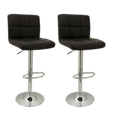 New 2PCS PU Swivel Counter Chairs Cube Bar Stools