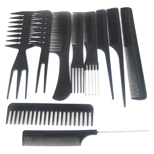 TRIXES 10pc Hairdressing Comb Set | 10pc Salon Hair Styling Comb Set