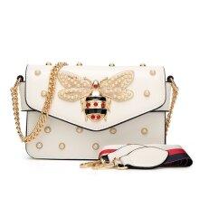 New Pearl honey bee bag versatile temperament Single Shoulder Messenger Bag bag(white)