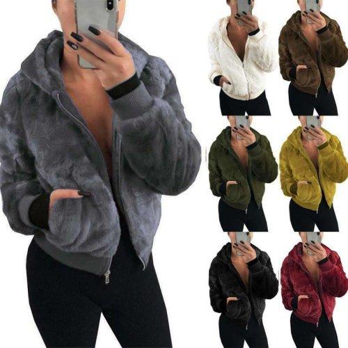 Women Hoodie Fleece Coat Teddy Bear Fur Hooded Jacket Winter Warm Fluffy Outwear