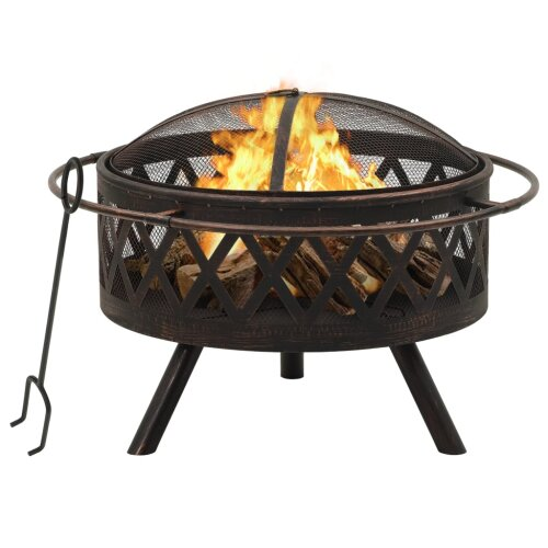 vidaXL Rustic Fire Pit with Poker 76 cm XXL Steel Fire Bowl Patio Heater Home