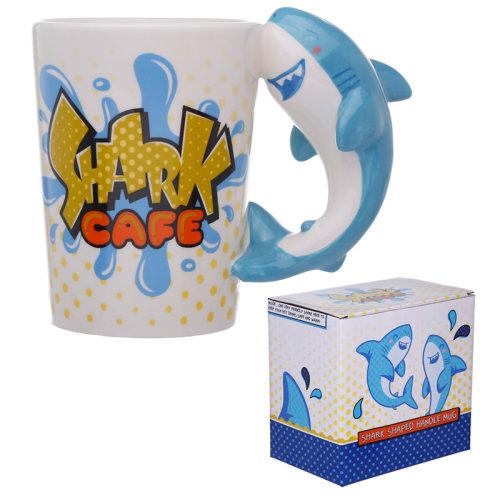 Novelty Ceramic Bite Me Shark Shaped Handle Mug