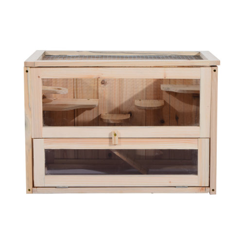 PawHut Wooden Hamster Cage Mice Rodents Hutch Small Animals 2 Levels 60x35x42cm