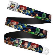 """Children's Toy Story Characters Full Colour Seatbelt Buckle Web Belt (20-36"""")"""