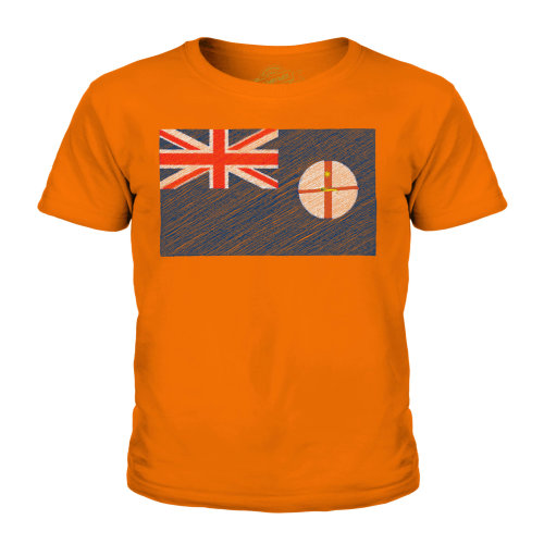 (Orange, 9-10 Years) Candymix - New South Wales Scribble Flag - Unisex Kid's T-Shirt