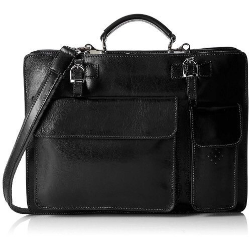 (Black) 39x30x11 cm -Leather Bag -Organizer - Made in Italy