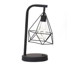 Retro Black Geometric Industrial LED Lamp | Battery Operated Desk Light