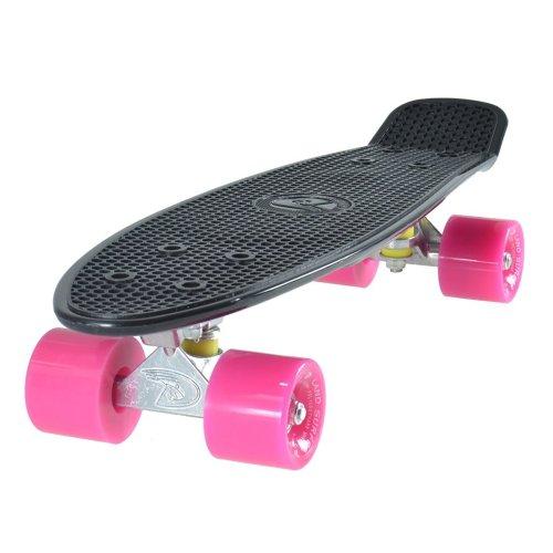 "Land Surfer Cruiser Skateboard 22"" BLACK BOARD PINK WHEELS"