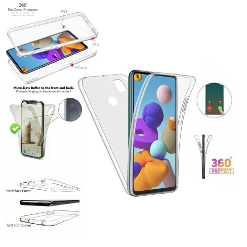 Case For Samsung Galaxy A21s Full 360 Protection Transparent Cover