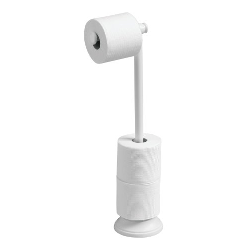 Loo Roll Holder mDesign Two-Tier Toilet Paper Holder White Metal Wall Mounted Toilet Roll Holder