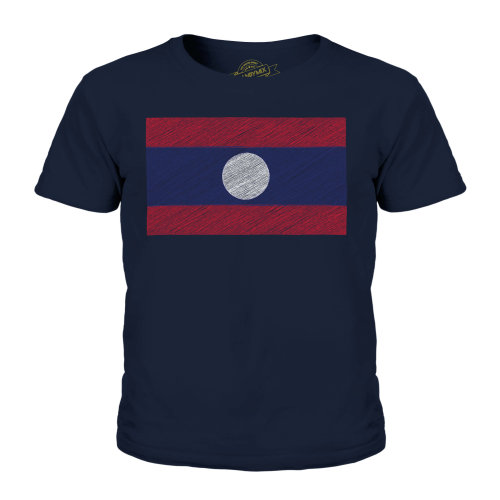 (Dark Navy, 11-12 Years) Candymix - Laos Scribble Flag - Unisex Kid's T-Shirt