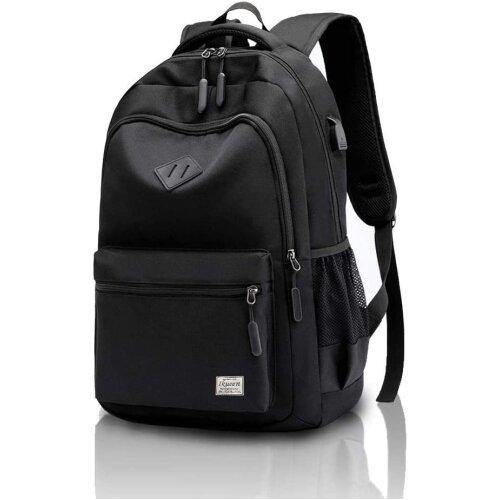 (Black) School Bag Waterproof Rucksack for Boys Girls Kids College Travel Laptop Backpack with USB Charging Port Casual Daypack