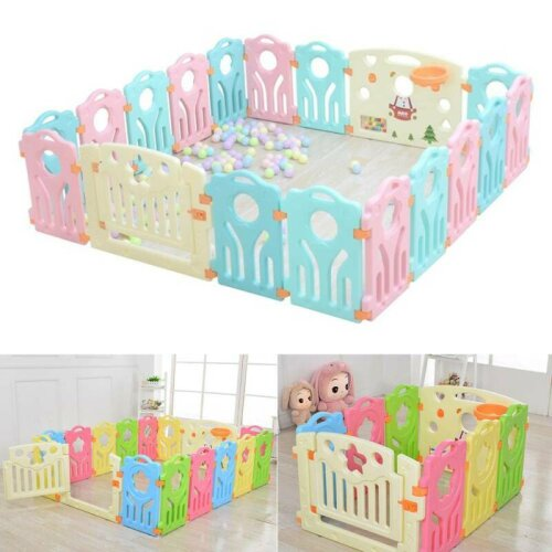 10+2 Large Foldable Plastic Baby Playpen Indoor& Outdoor With Optiona