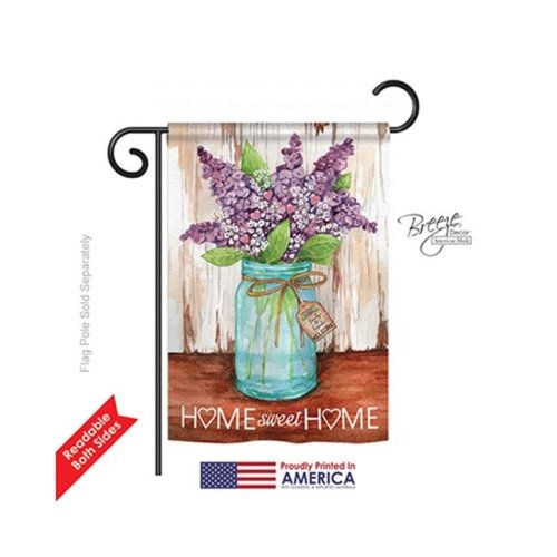 Breeze Decor 50065 Welcome Lilacs Home Sweet Home Jar 2-Sided Impression Garden Flag - 13 x 18.5 in.