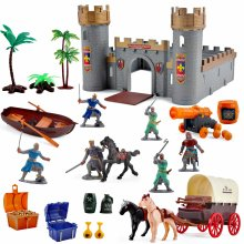 deAO Medieval Knights Action Figure Toy Play Set Including Castle, Catapult and Horse-Drawn Carriage with Light, Music and Accessories