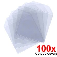 100 Clear Plastic CD DVD Blu-ray Covers Sleeves Case Wallet Envelopes