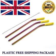 Stainless Steel Straw Bent Metal Straws 3pcs + Brush, Rainbow