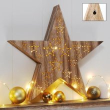 GEEZY Wooden Star LED Light | Battery-Operated Christmas Star Light
