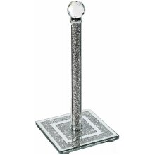 CRUSHED DIAMOND SILVER CRYSTAL FILLED KITCHEN ROLL HOLDER TISSUE