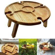 Wooden Outdoor Folding Picnic-Table With Glass Holder 2In1 Wine Glass Rack