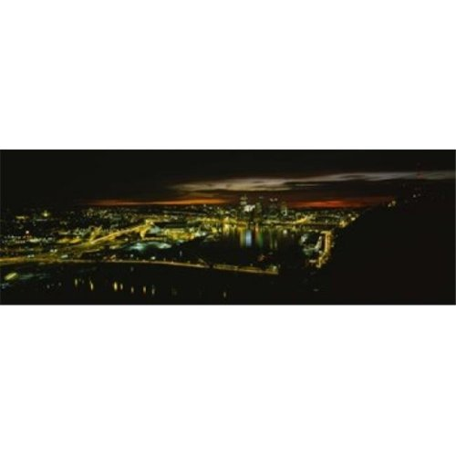 High angle view of buildings lit up at dawn  Pittsburgh  Pennsylvania  USA Poster Print by  - 36 x 12