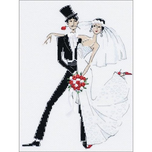 7.75 x 10.25 in. Wedding Tango Counted Cross Stitch Kit - 14 Count