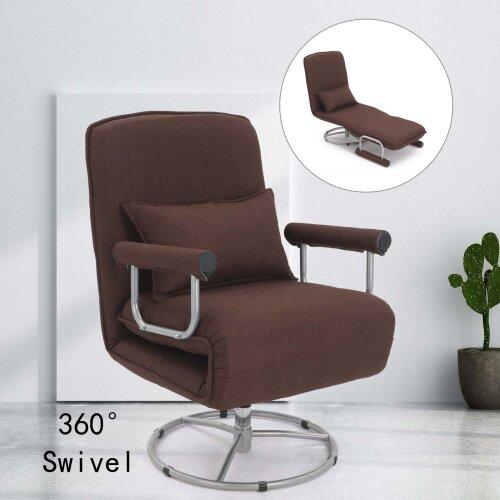 Sofa Bed Folding Lounge Chair Sleep Armchair Height Adjustable Brown