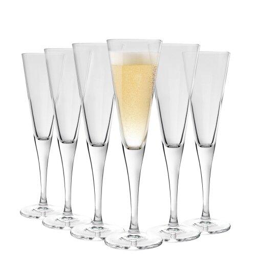 Bormioli Rocco Ypsilon Champagne Flute Glasses Flutes, 160ml - x6