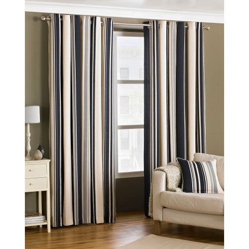 (66x72 (168x183cm), Black) Riva Home Broadway Ringtop Curtains