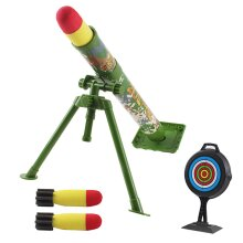 deAO Military Launcher Blaster Shooting Game Play Set with Music Function, Adjustable Elevation and Foam Rocket Missiles